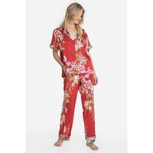 Johnny Was Nailah Silk Pajama Set Large NWT